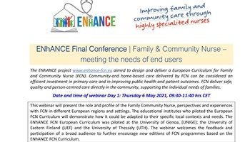 ENhANCE Final Conference | Family & Community Nurse – meeting the needs of end users